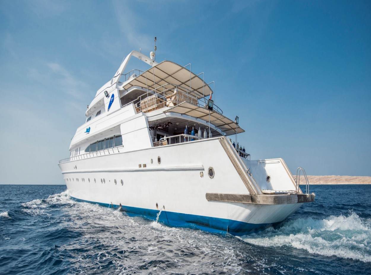 Stern of M/Y blue Fin liveaboard diving vessel in the Red Sea