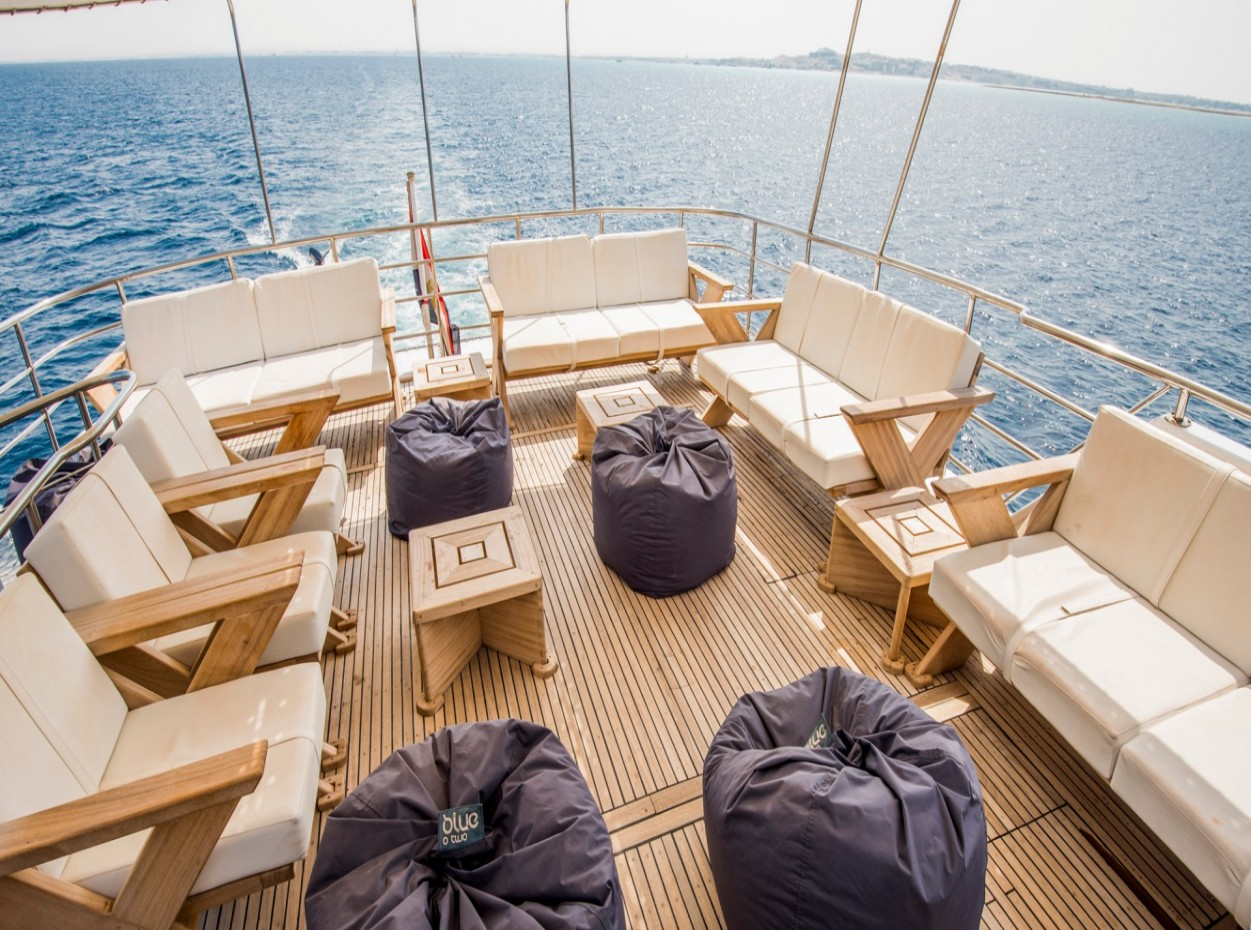 Bean bags on the rear deck of M/Y blue Fin