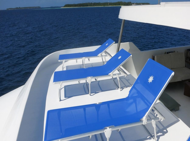Sky deck sun area onboard blue Voyager, Maldives