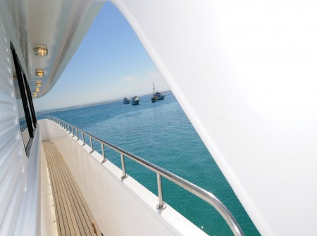 Walkway on board M/Y blue Melody, Red Sea liveaboard vessel