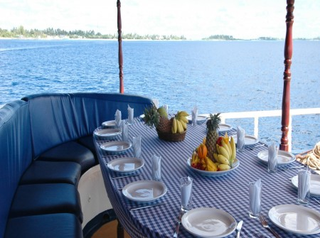 alfresco dining, Sea Spirit, Maldives