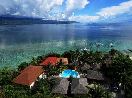 Philippines, Moalboal Magic Island, Dive Resort, Cottages, Aerial, image,