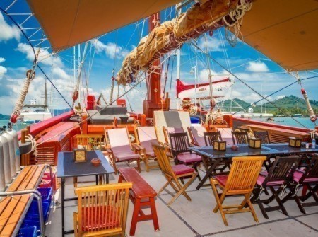 The Junk main deck lounge and dining area