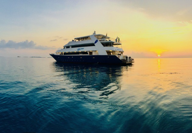Blue Voyager in the Maldivian sunset